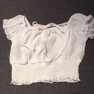 White semi-sheer cinched crop top